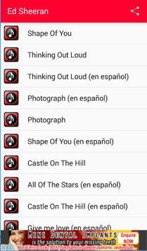 Ed Sheeran Y Letras Musica apk screenshot