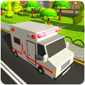 Blocky US Fire Truck & Army Ambulance Rescue Game