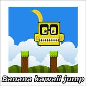 Banana kawaii jump icon