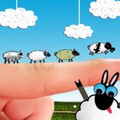 Grazing, herdsman and ewe icon