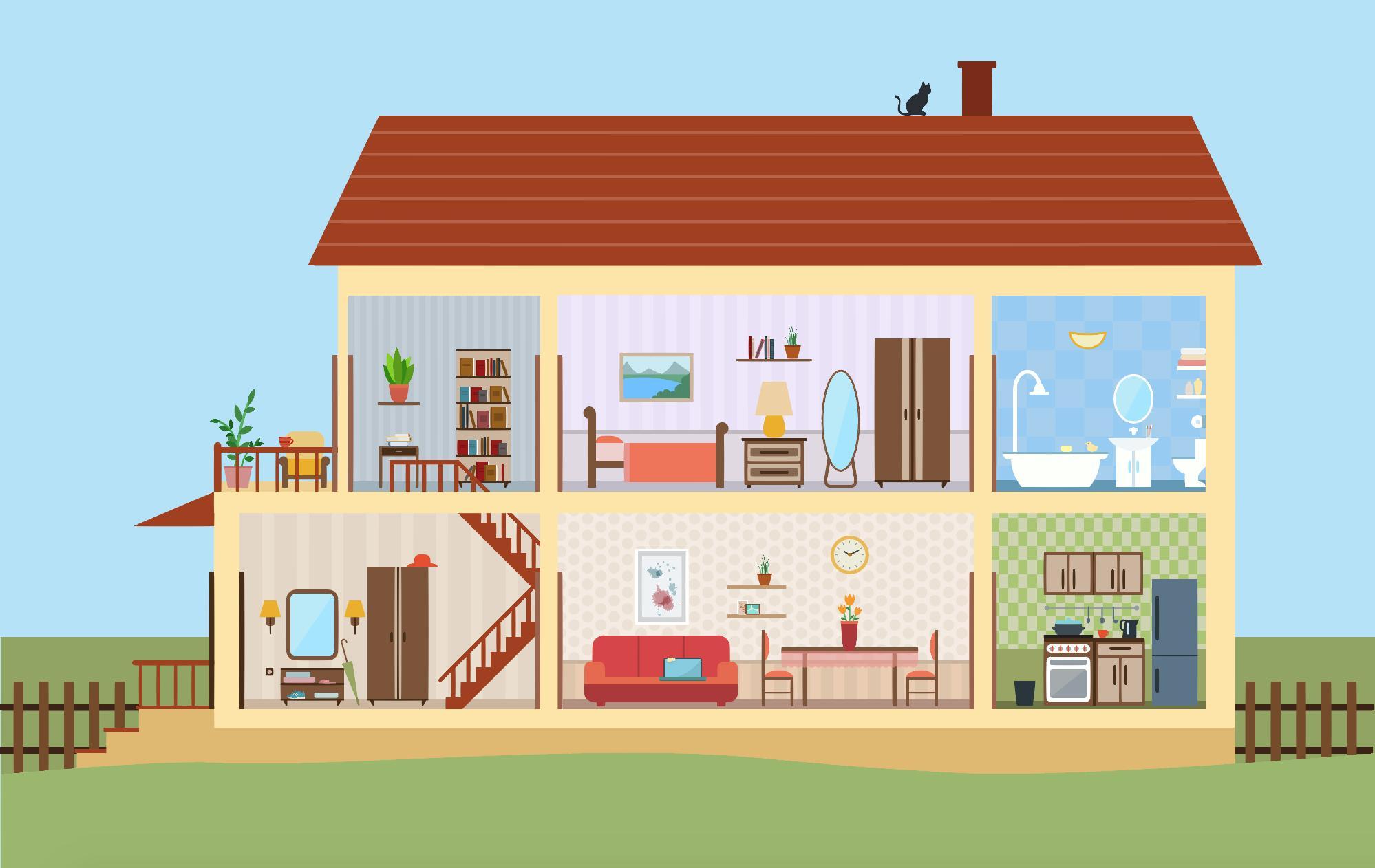 Картинка дом с комнатами в разрезе