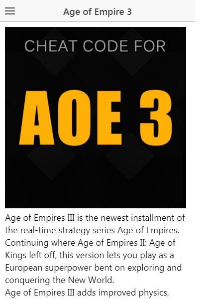 Age of Empires III Cheats - Age of Empires 3 Cheat for Android - APK