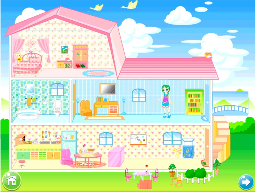 Doll house decorating game for android apk download for Design my bedroom online free
