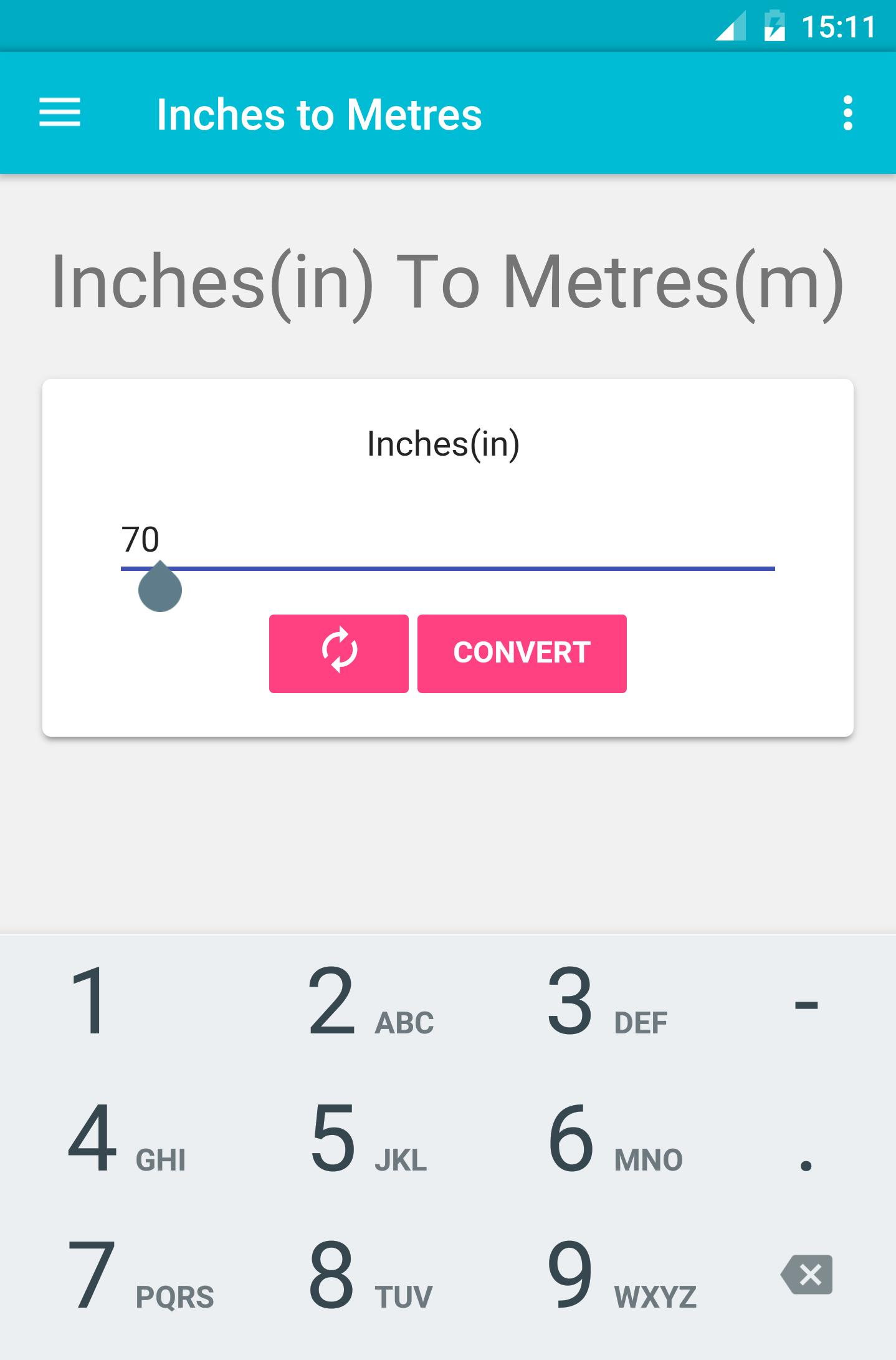 Metres inches to Inches to