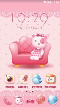 Pinky Kitty Go Launcher Theme apk screenshot