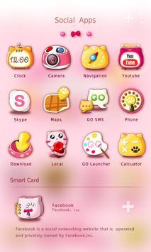 Pinky Cat GO Launcher Theme apk screenshot