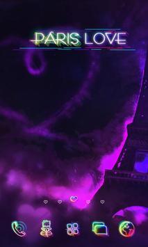 Paris in Neon Launcher Theme poster
