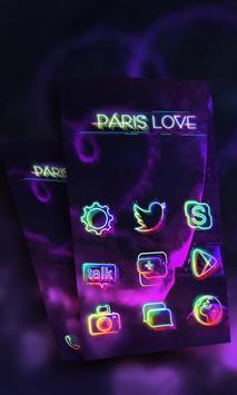 Paris in Neon Launcher Theme apk screenshot