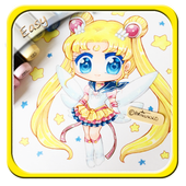 How to draw Easy 5ailor Moon icon