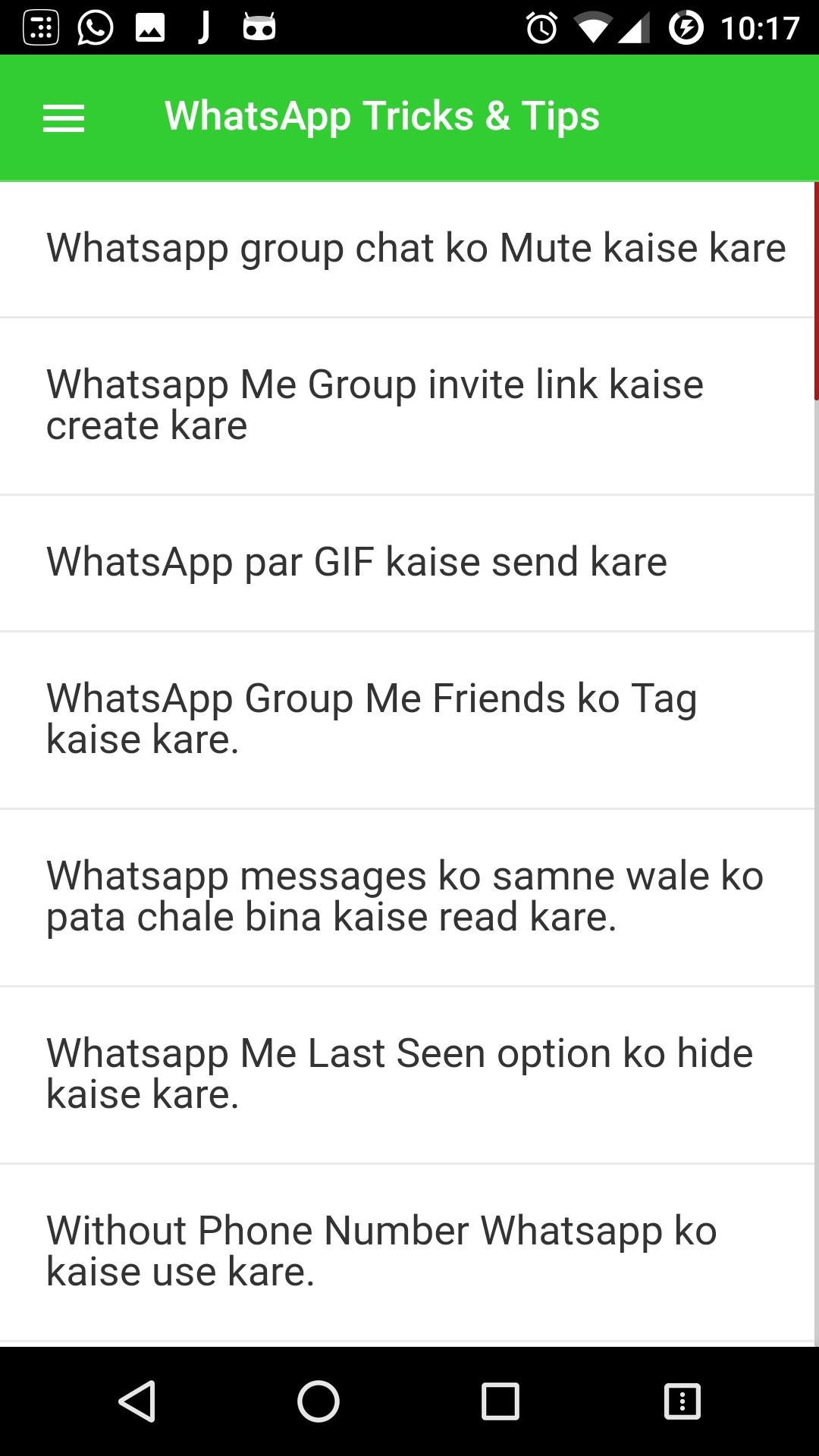 Tips, Tricks and Hacks of Whats up in Hindi for Android