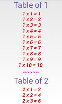 Simple Math Tables Multiply poster