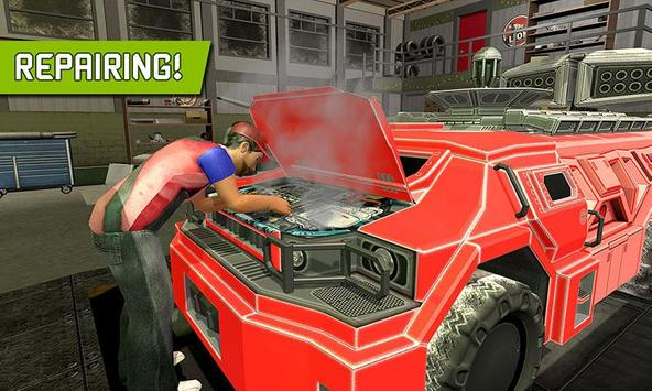Big Muscular Truck Robot Mechanic Car Workshop poster