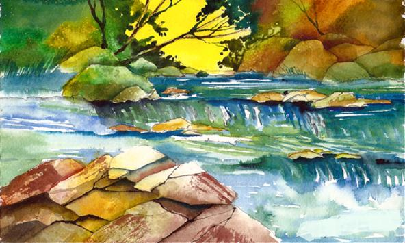 How to Paint Landscapes with Watercolors Guide poster