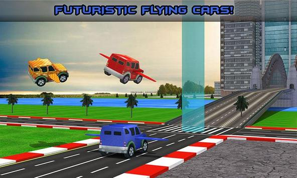 Futuristic Kids Flying Cars poster