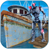 Futuristic Robot Boat Mechanic icon