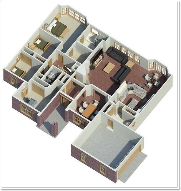 3D Small House Layout Design For Android