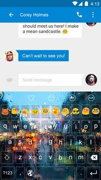Emoji Keyboard-Rainy Glass apk screenshot