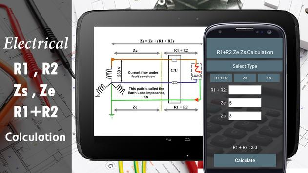 R1+R2 Zs and Ze Calculator - Electrical R1+R2 Zs apk screenshot