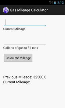 Gas Mileage Calculator screenshot 1