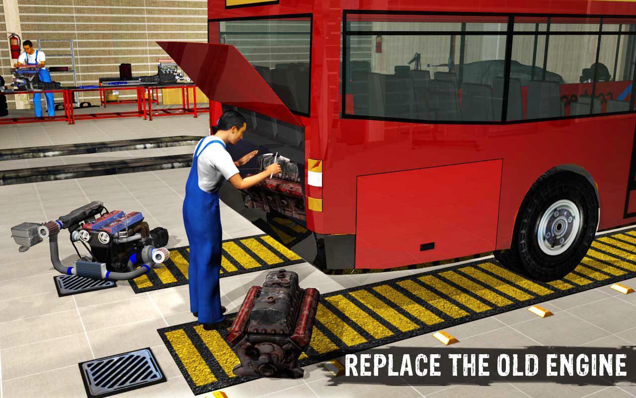 Bis Montir Garasi Mesin Pemeriksaan Perbaikan 3D apk screenshot