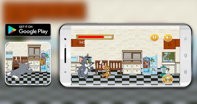 Tom jump and Jerry run in the kitchen poster