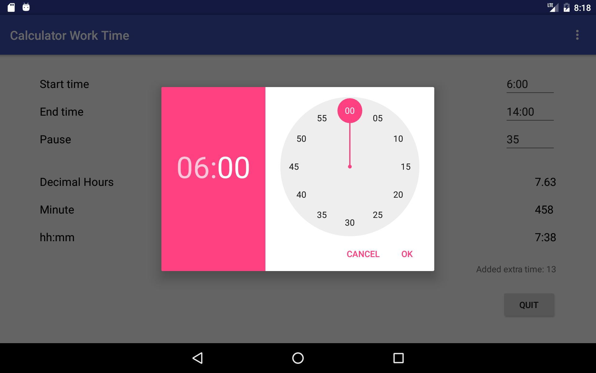 Simple working time calculator cho Android - Tải về APK