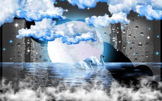 Swans Moon Night LWP apk screenshot