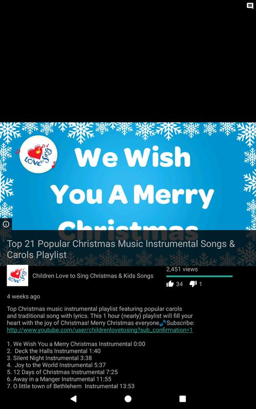 christmas songs medley christmas songs for kids apk screenshot - Youtube Christmas Music Playlist