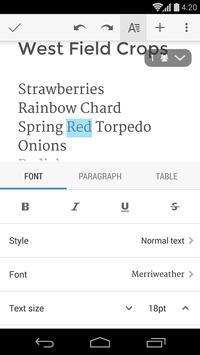 Google Docs apk screenshot