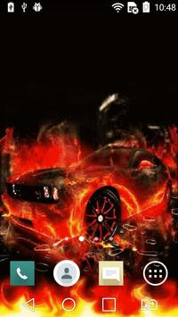 Car on fire live wallpaper poster