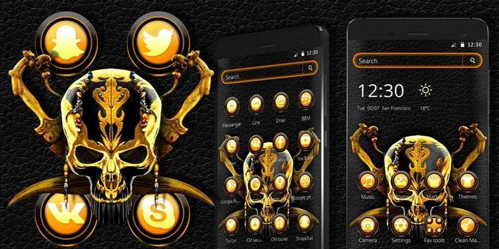 Gold Black Skull Theme screenshot 3