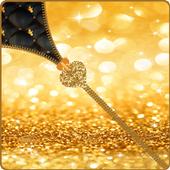 Gold Glitter Zipper Lock icon