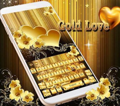 Gold Love theme for free Emoji Keyboard screenshot 1