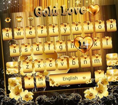 Gold Love theme for free Emoji Keyboard apk screenshot