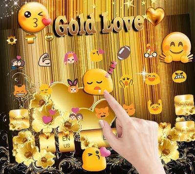 Gold Love theme for free Emoji Keyboard screenshot 8