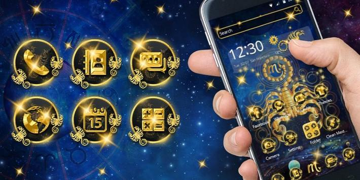 Gold Scorpion Constellation Theme Glitter Galax screenshot 3