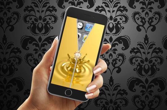 Gold Zipper Lock Screen apk screenshot