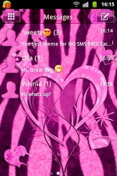 Heart Theme Zebra Pink GO SMS poster
