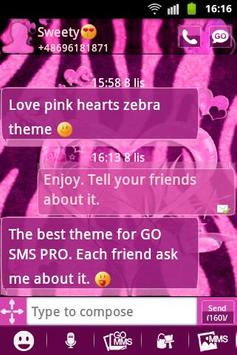 Heart Theme Zebra Pink GO SMS screenshot 1