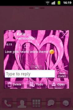 Heart Theme Zebra Pink GO SMS screenshot 2