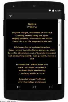 Gojira Lyrics apk screenshot