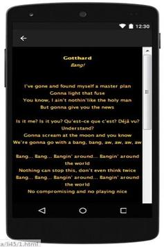 New Lyrics Gotthard apk screenshot
