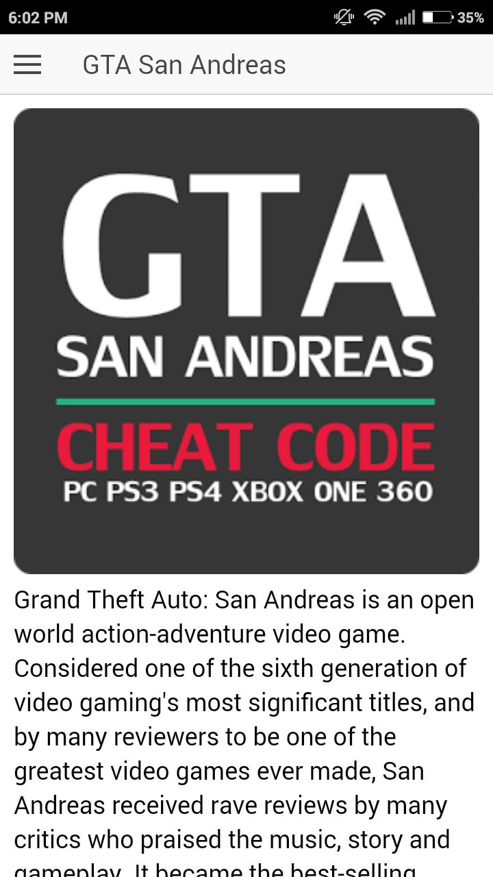 Codes for GTA San Andreas Game for Android - APK Download