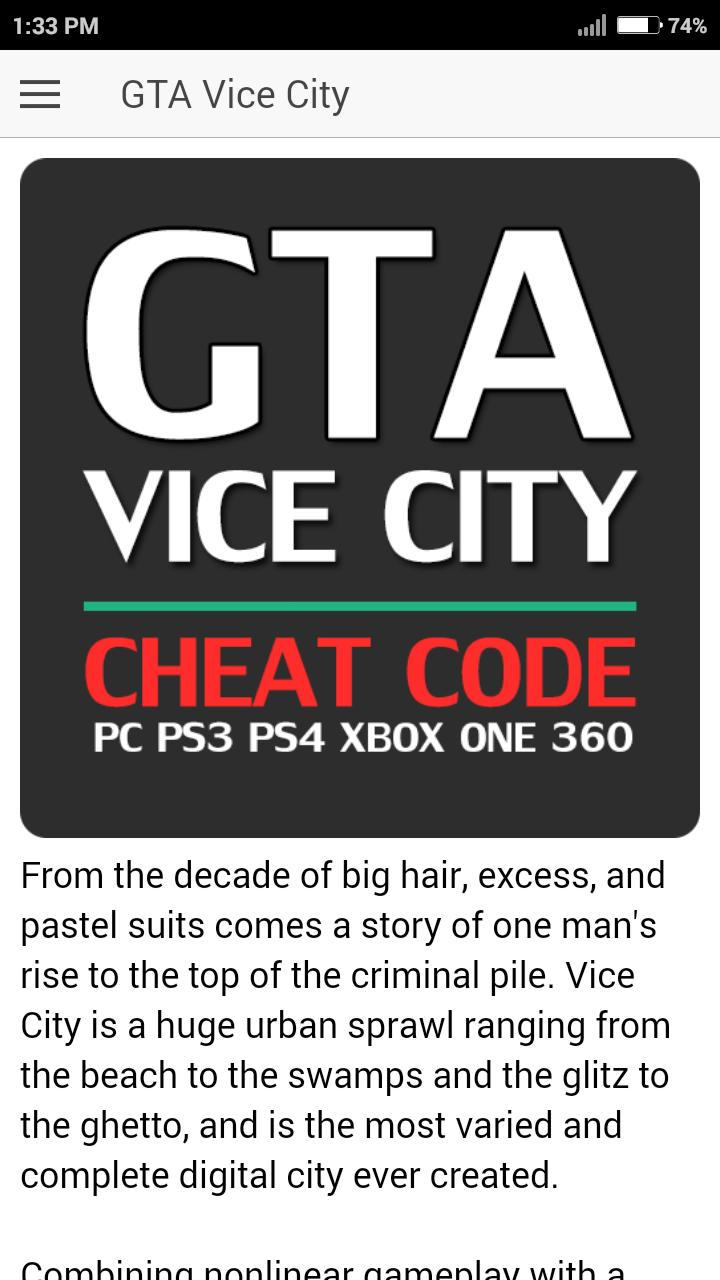 Cheat Code for GRAND THEFT AUTO VICE CITY GTA Game para