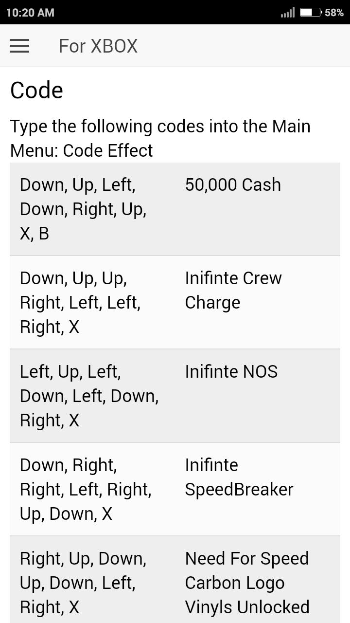Cheat Code for Need For Speed Carbon Games NFS for Android
