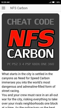 Cheat Code for Need For Speed Carbon Games NFS poster