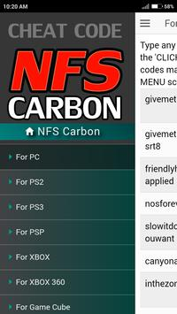 Cheat Code for Need For Speed Carbon Games NFS screenshot 1