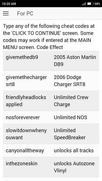 Cheat Code for Need For Speed Carbon Games NFS screenshot 2