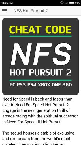 Cheat Code For Need For Speed Hot Pursuit 2 Games Pour Android