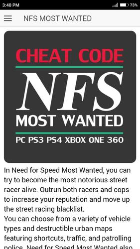 Cheat Code For Nfs Need For Speed Most Wanted Game For Android